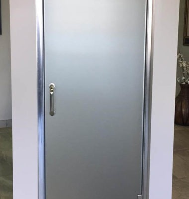 A Series Semi-Frameless Shower Door with Satin Glass