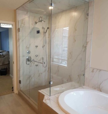 Corner Bench Shower with Panels to Ceiling