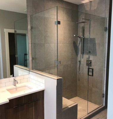 Corner Bench Shower with Square Hardware