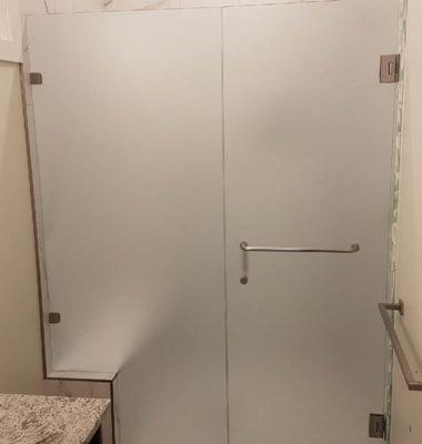 Frameless Satin Inline Shower