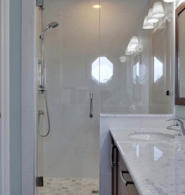 Frameless Shower on Stub Wall